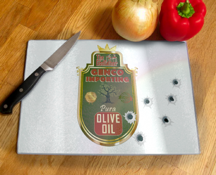Genco Importing Company Olive Oil from Godfather Tempered Glass Chopping Board
